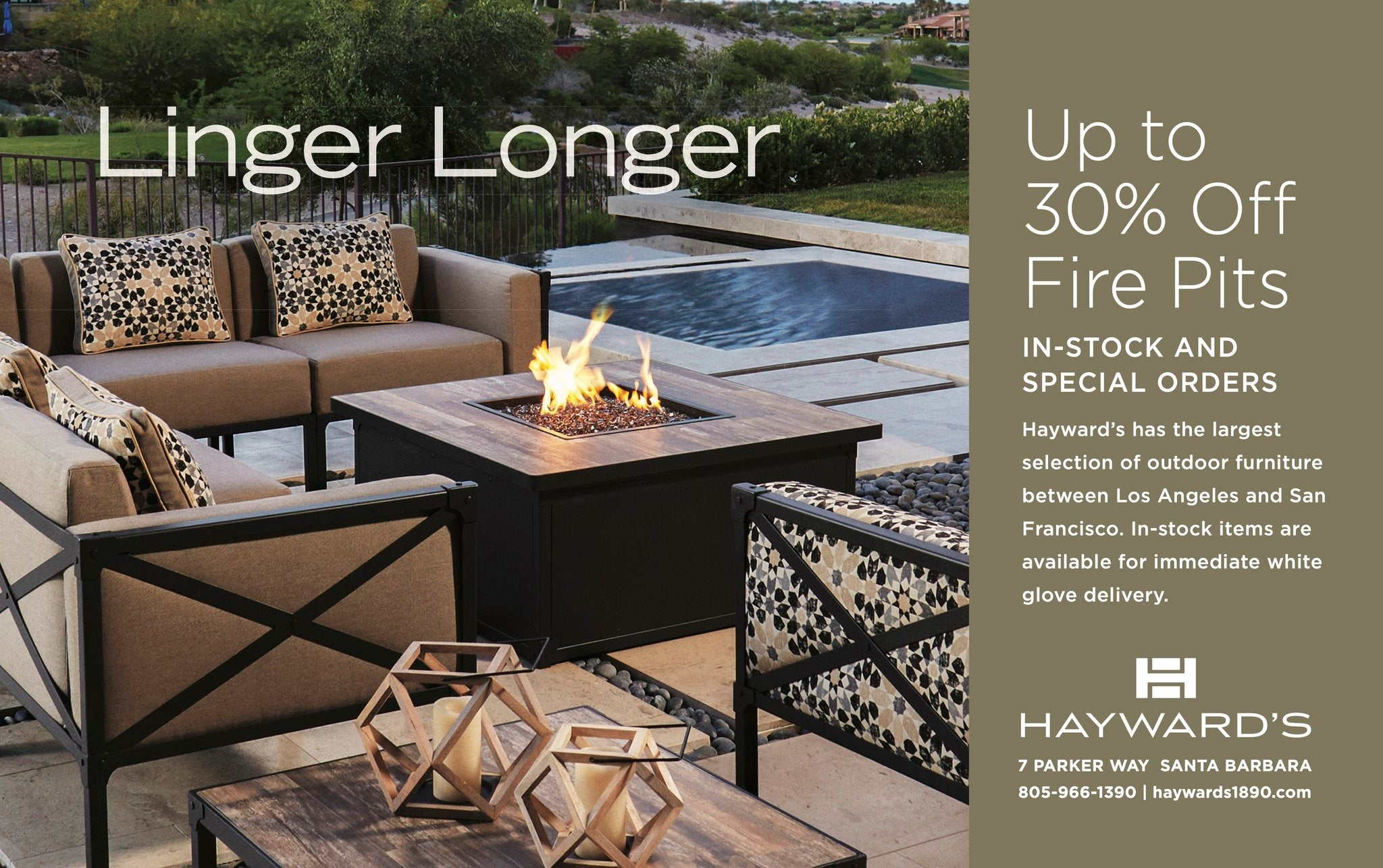 Hayward's Patio of Santa Barbara. Wicker and Teak outdoor furniture on sale. Plus, umbrellas and cushions.