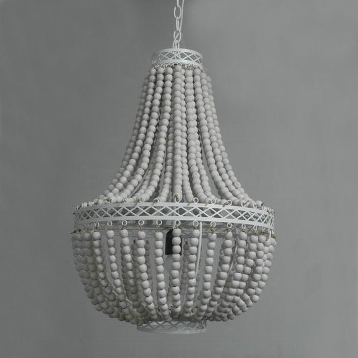 Princess Grace Collection White Wooden Beads Rustic Chandelier