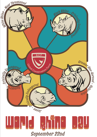 World Rhino Day Retro Sticker