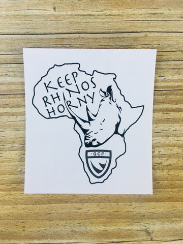 """Keep Rhinos Horny"" - Africa Sticker"