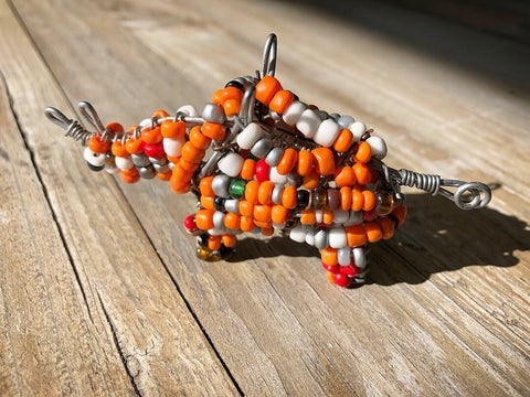 Handmade beaded rhino - Small
