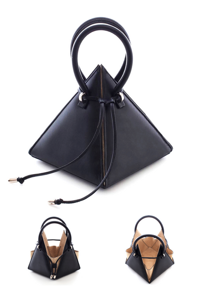 NitaSuri Unique Leather Handbag Pyramid Shape Black Color