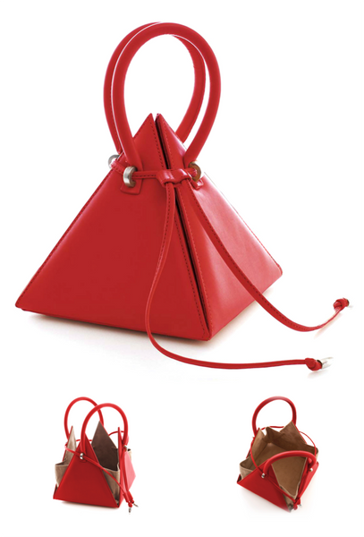 NitaSuri Unique Leather Handbag Pyramid Shape Red Color