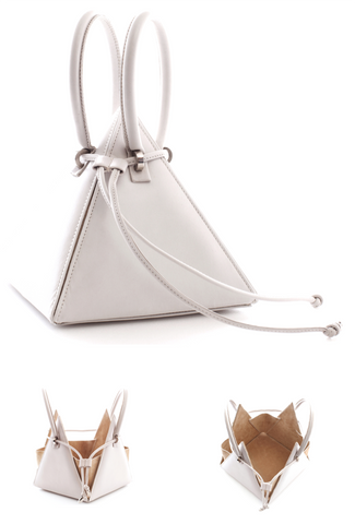 NitaSuri Unique Leather Handbag Pyramid Shape White Color