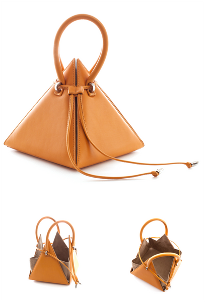 NitaSuri Unique Leather Handbag Pyramid Shape Mustrard Color