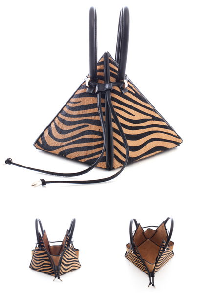 NitaSuri Unique Leather Handbag Pyramid Shape Tiger Color