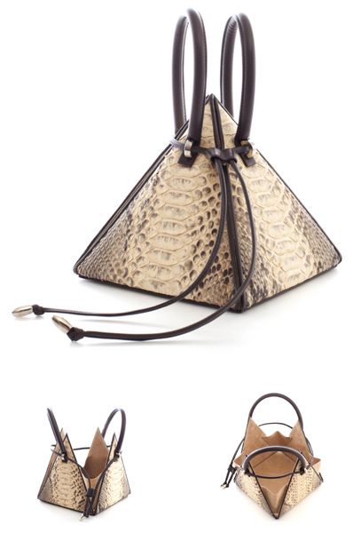 NitaSuri Unique Leather Handbag Pyramid Shape Python Exotic Leather