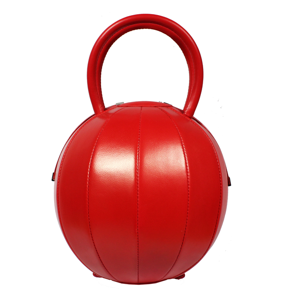NitaSuri Unique Leather Handbag Sphere Shape Red Color