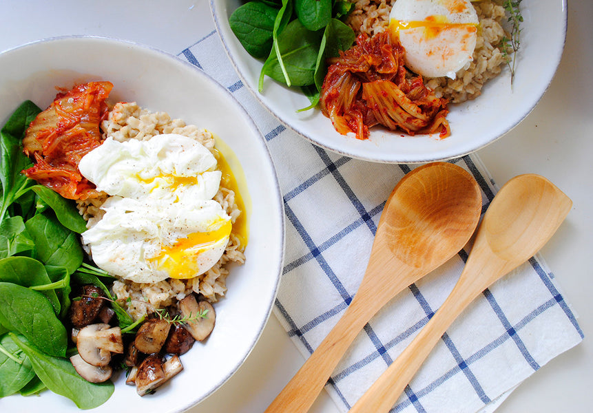 Savory Oatmeal with Poached Eggs, Spinach and Kimchi
