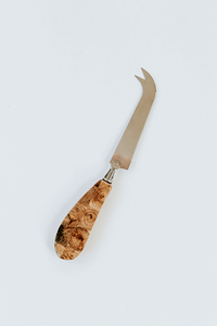 hand crafted inlaid mosaic juniper wood handle cheese knife