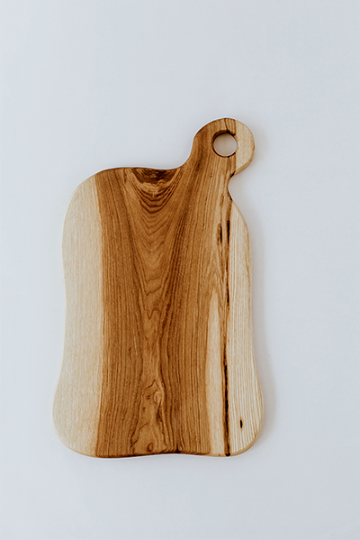 hand crafted ash wood medium serving and cutting board