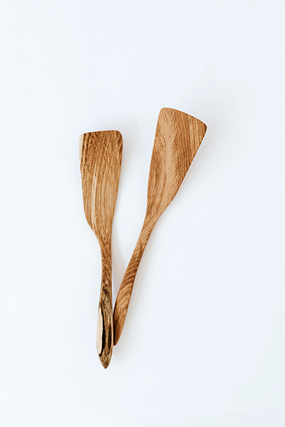 hand crafted hook handle left-handed and right-handed ash wood small spatulas