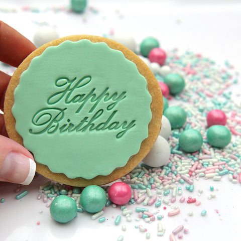 Happy Birthday Cookie Stamp - Cursive (Generic)