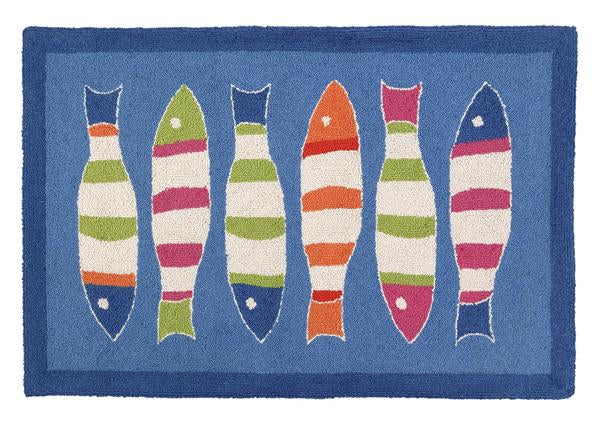 Blue Picket Fish Rug