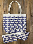 Navy Fish Canvas Bag Set