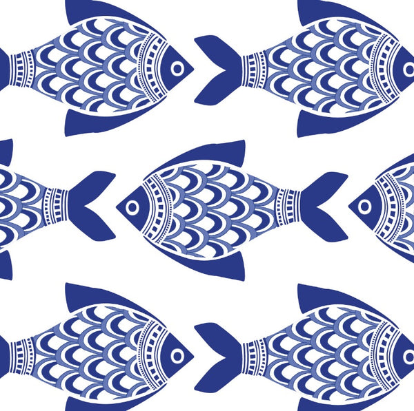 Porcelain Fish Kate Nelligan Design Cotton Fabric by the Yard