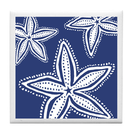 White Starfish On Navy Coaster