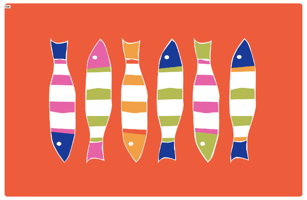Orange Picket Fish Placemat