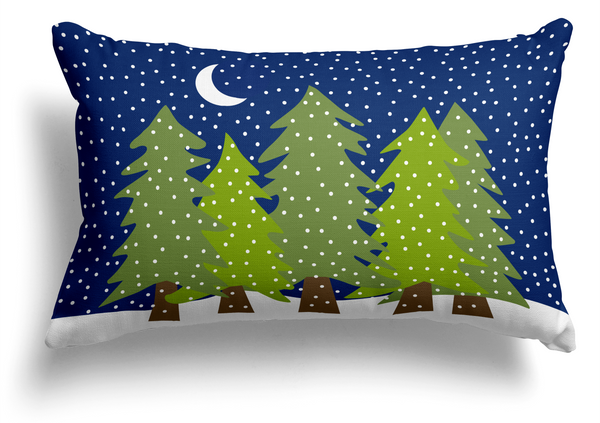 Midnight Snow Lumbar Pillow