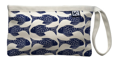 Dock Square Clutch-Navy Fish