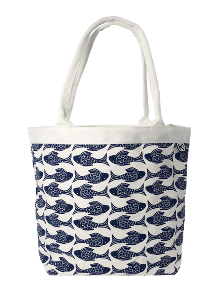 Dock Square Tote-Navy Fish