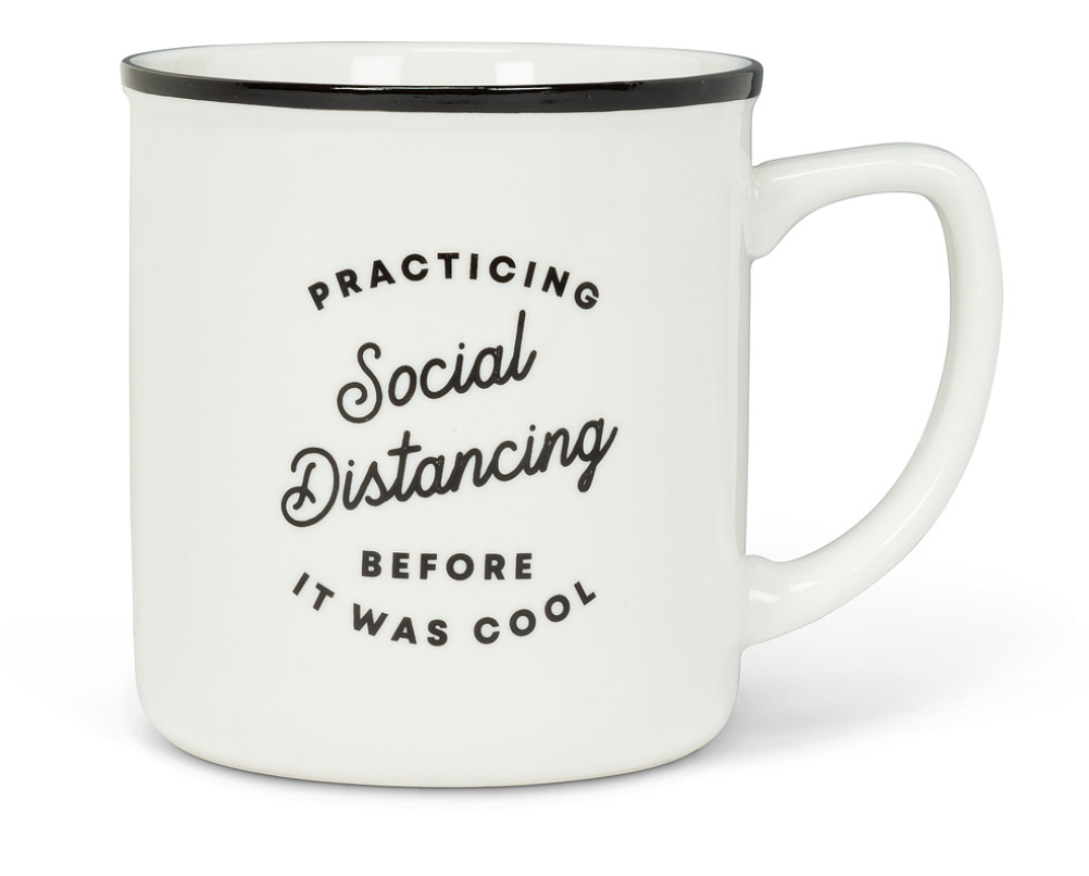Practicing Social Distancing Text Mug