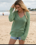 Wooden Ships Shirt Tail V-Neck Lightweight Sweater Wake Green