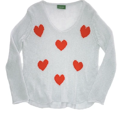 Wooden Ships Besotted Shirt Tail V Neck Hearts Sweater