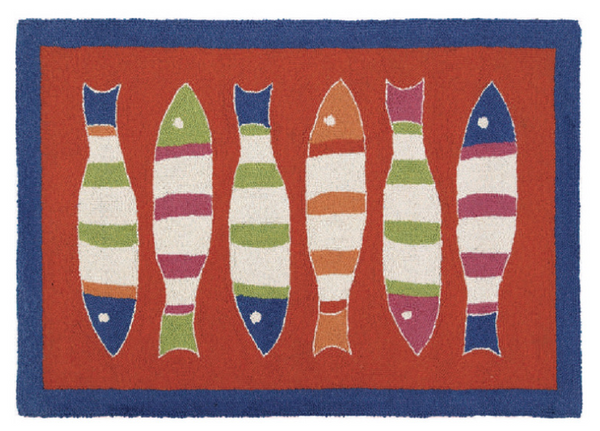 Orange Picket Fish Rug