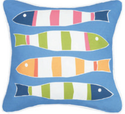 Blue Picket Fish Canvas Pillow
