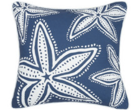 Navy Starfish Canvas Pillow