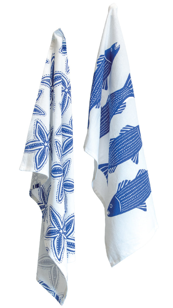 Striper/Starfish Tea Towel Set