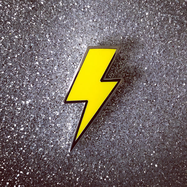 Lightning Bolt Pin - Silver and Solid Enamel