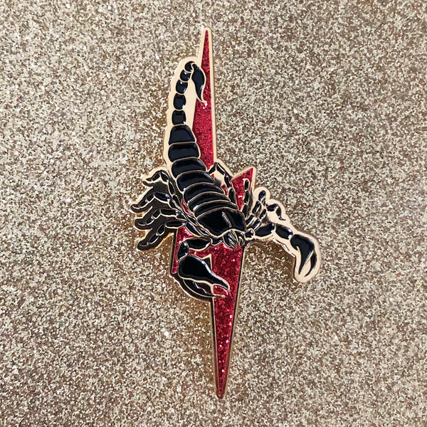 Scorpion Pin w/ Red Glitter Lightning Bolt