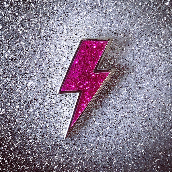 Lightning Bolt Pin - Silver and Glitter