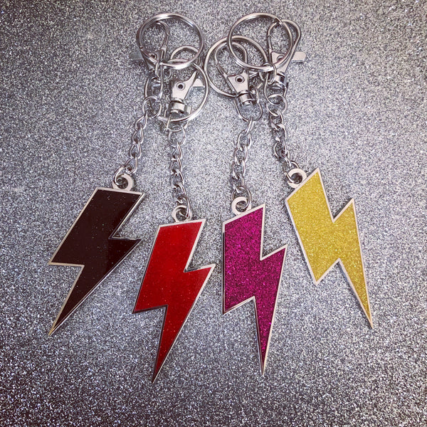 Lightning Bolt Keychain - Silver and Glitter