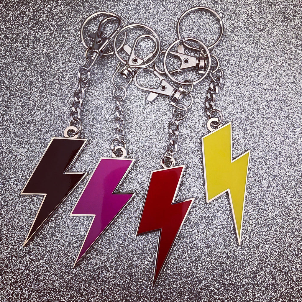 Lightning Bolt Keychain - Silver and Solid Enamel