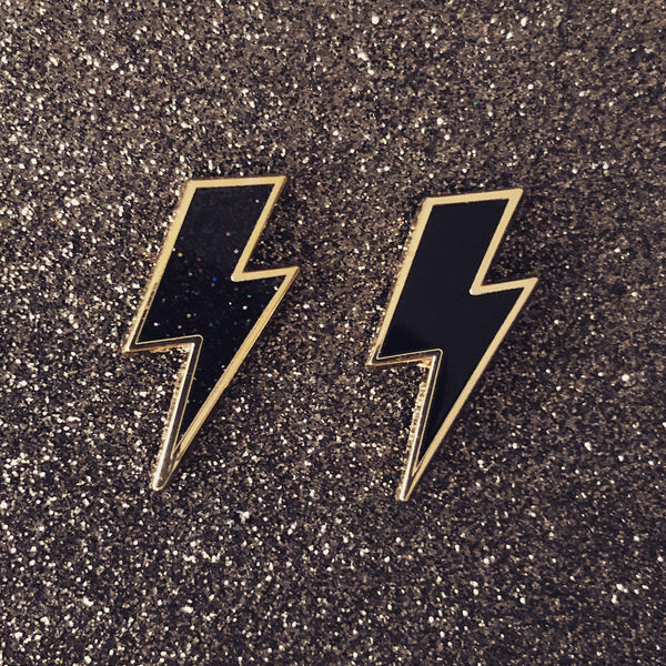 Lightning Bolt Pin - Gold (with either solid black or black glitter enamel)