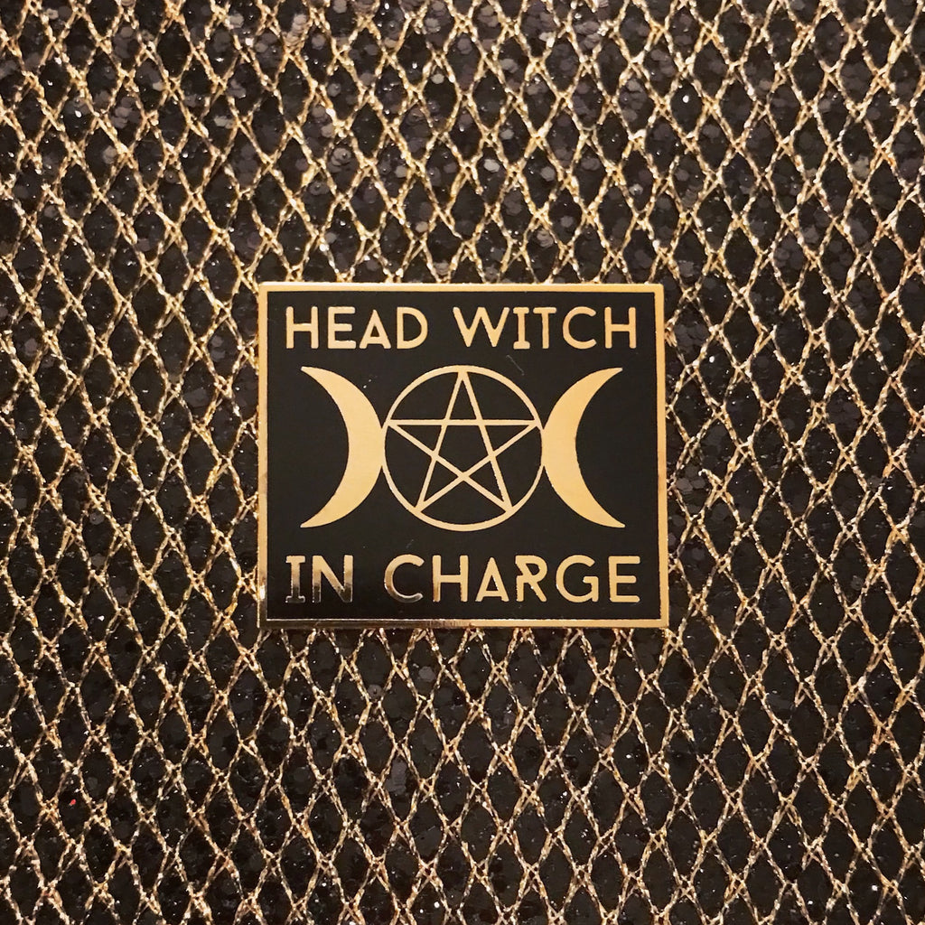 GOLD Head Witch In Charge Pin