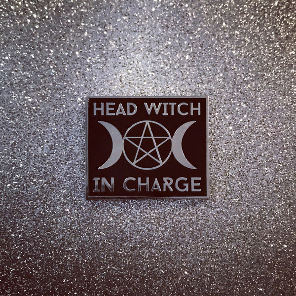 SILVER Head Witch In Charge Pin