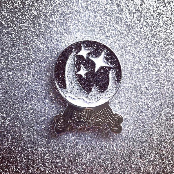 Silver and Black Crystal Ball Pin