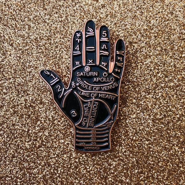 Black and Rose Gold Palmistry Pin