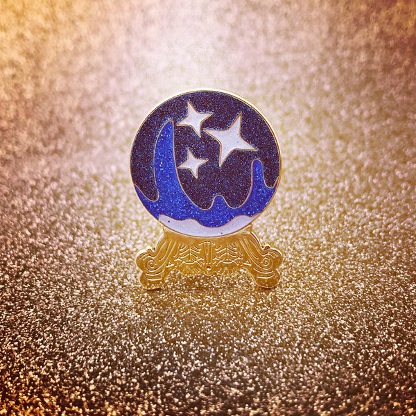 Blue Crystal Ball Pin