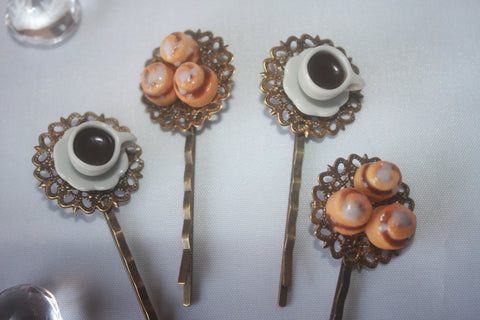Coffee & Cinnamon Roll Hair Pins