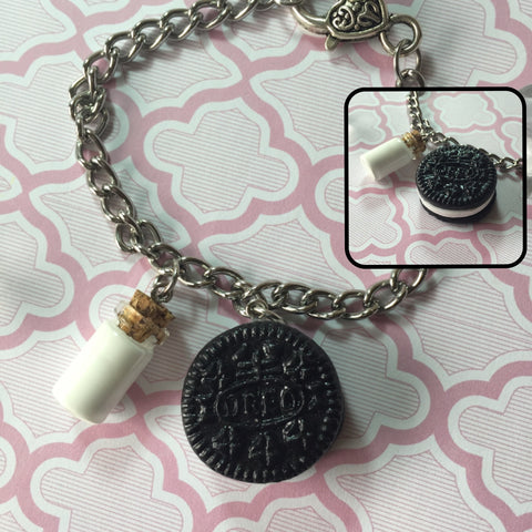Oreo Cookie & Milk Charm Bracelet