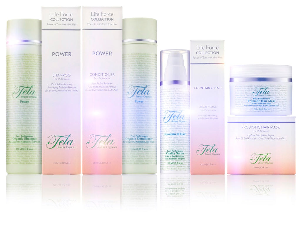 tela life force collection, haircare infused with probiotics, superfruits, and organics, tela beauty organics