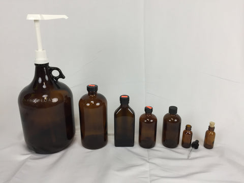 Assorted Amber Glass Containers