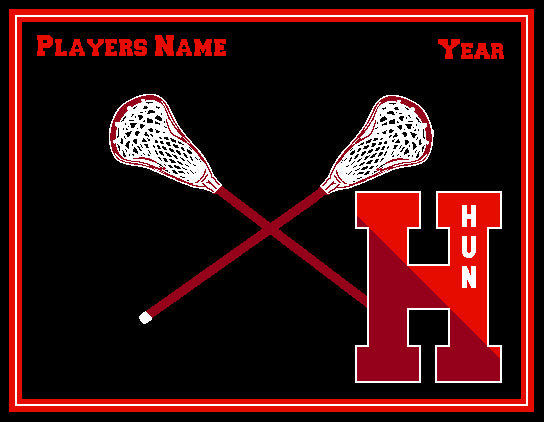 The Hun School Lacrosse Blanket Customized Name & Year 60 x 50
