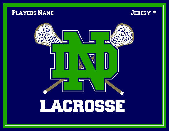 Custom Notre Dame Men's KELLY Lacrosse Crossed Sticks Name & Number 60 x 50