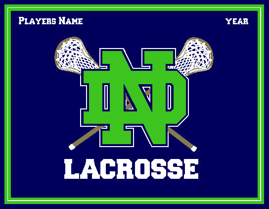 Notre Dame Men's KELLY  Lacrosse Navy & Kelly Name & Year 60 x 50